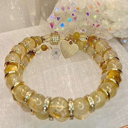 Rutilated Quartz Brass Wrap Bracelet
