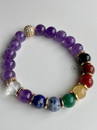7 Chakras Amethyst Bracelet