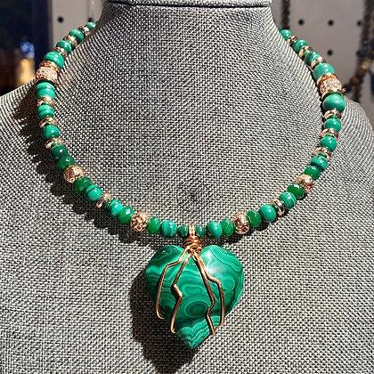 Malachite Heart Jade Copper Choker