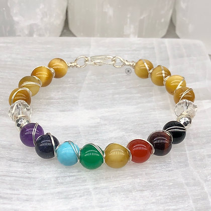 Yellow Tiger's Eye Sterling Silver Wrapped Bangle
