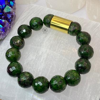 Ruby Zoisite Brass Bracelet