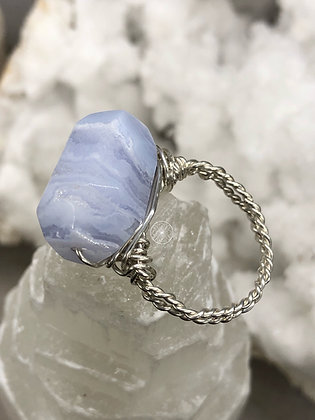 Sterling Blue Lace Agate Ring 6