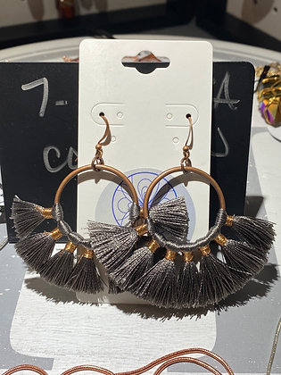 Copper Gray Tassel Earrings