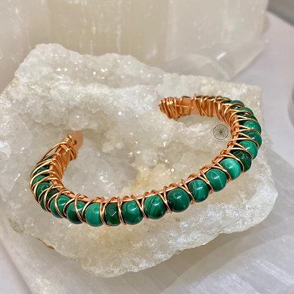 Malachite & Jade Copper Bangle