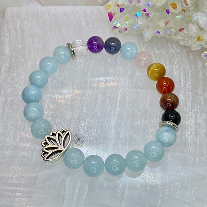 Aquamarine Chakra Lotus Bracelet