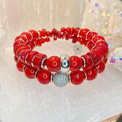 Red Coral Wrap Bracelet