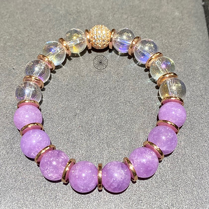 Kunzite Aura Quartz Pavé Bracelet
