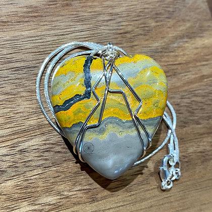 Bumblebee Jasper Heart Sterling Silver