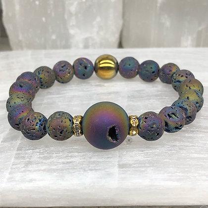 Rainbow Hematite Druzy Bracelet Gold