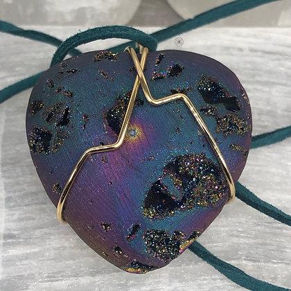 Druzy Rainbow Hematite Heart Pendant