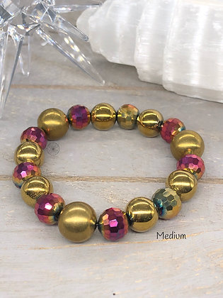 Hematite & Brass Stretch Bracelet