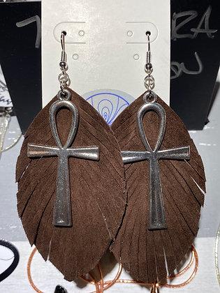 Chocolate Ankh Earrings