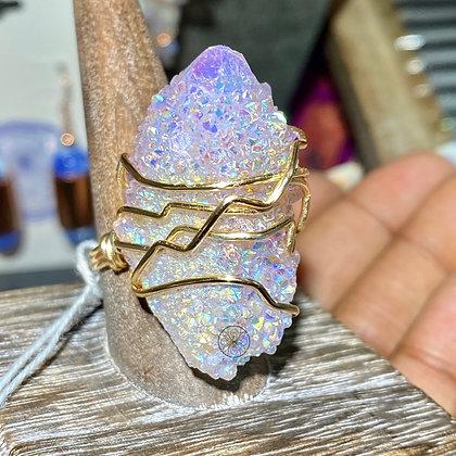 Angel Aura Spirit Quartz Brass Ring