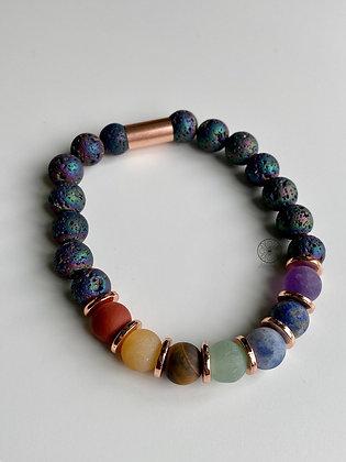 7 Chakras Rainbow Titanium Druzy Bracelet