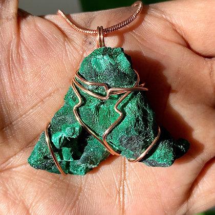 Silky Raw Malachite Copper Pendant