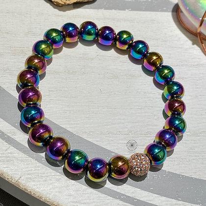 Rainbow Titanium Hematite Bracelet