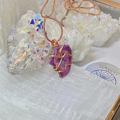 Aura Agate Geode Copper Pendant
