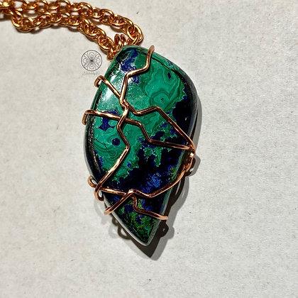 Azurite in Malachite Copper Pendant