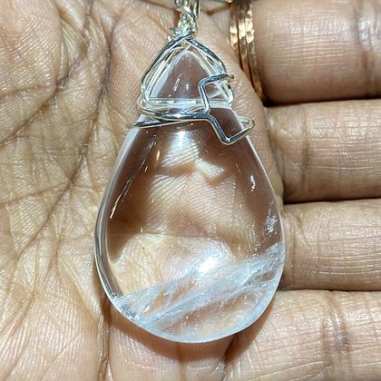 Clear Quartz Teardrop on Sterling Silver