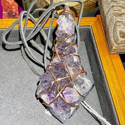Large Amethyst Scepter Copper Pendant