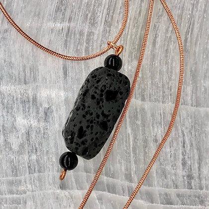 Copper Black Jasper Lava Rock Pendant