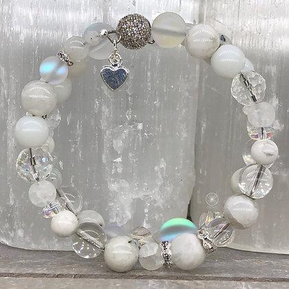 Moonstone Opalite Pave Wrap Bracelet