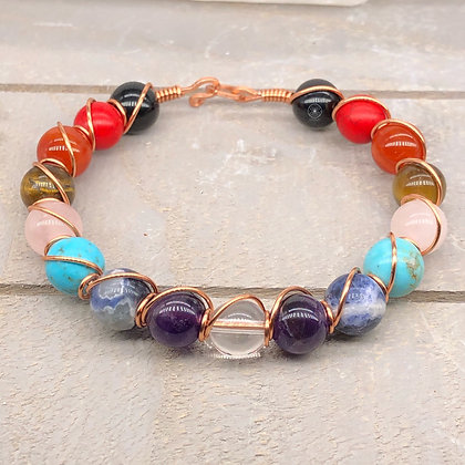 Copper Wrapped 7 Chakra's Bracelet