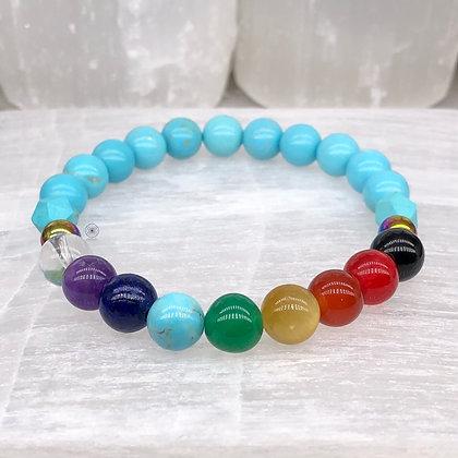 Vishuddha Chakra Rainbow Hematite Stretch Bracelet