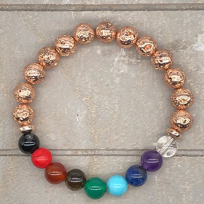Rose Gold Hematite 7 Chakra's Bracelet