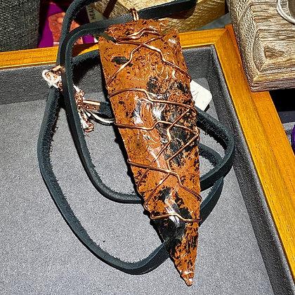 Mahogany Obsidian Copper Arrowhead Pendant