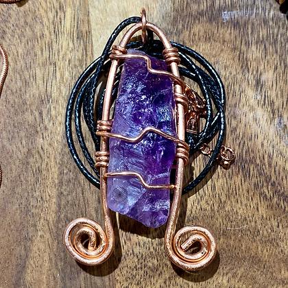 Amethyst Dbl Swirl Copper Pendant