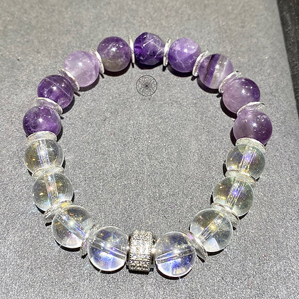 Amethyst Aura Quartz Silver Pavé Bracelet