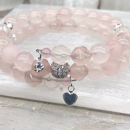 Rose Quartz Pavé Wrap Bracelet