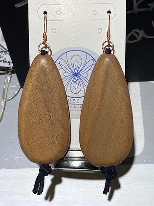 Wood Teardrop Black Suede Earrings