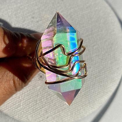 Angel Aura DT Quartz Brass Ring