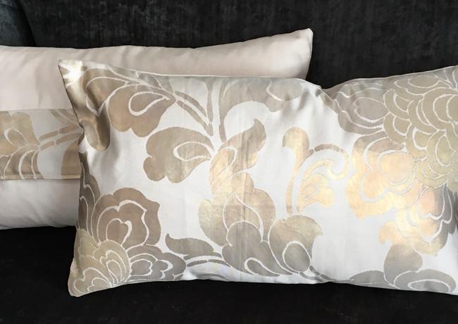 Gold/pink silk obi cushion
