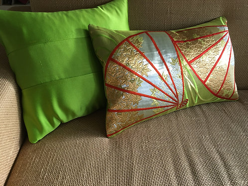 Matching plain obi sash silk cushion, handcrafted from vintage obi sash