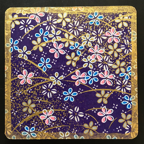 Blue drinks coasters handmade from Japanese washi paper