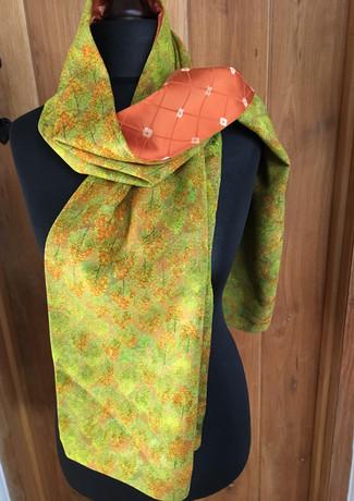 Green trees silk kimono scarf