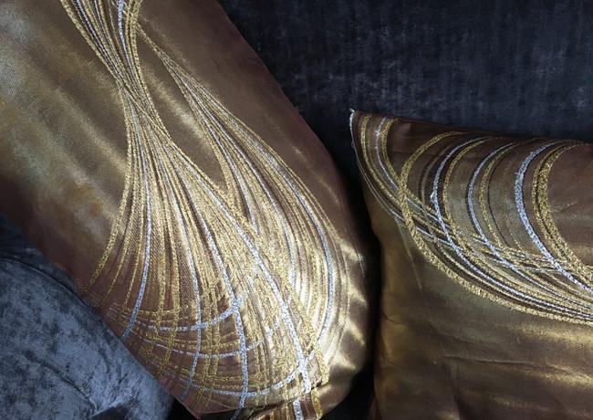 Gold/chocolate embroidered obi cushion