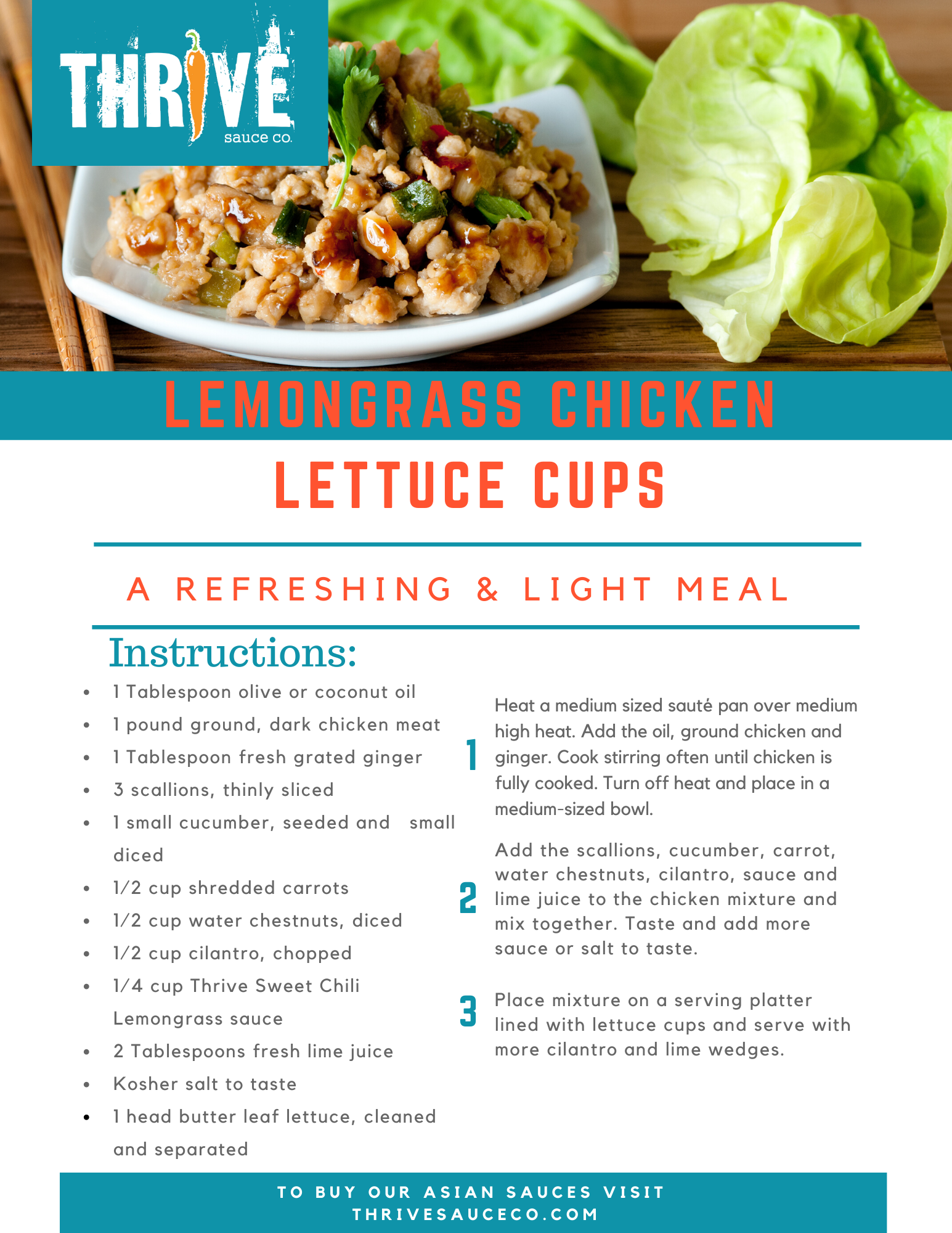 Lemongrass Chicken Lettuce Cup Recipe