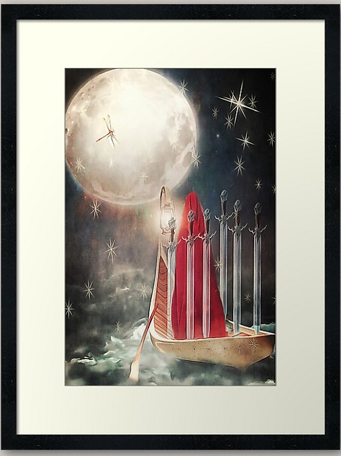Six of Swords (Tarot of Enchanted Dreams) Framed Print