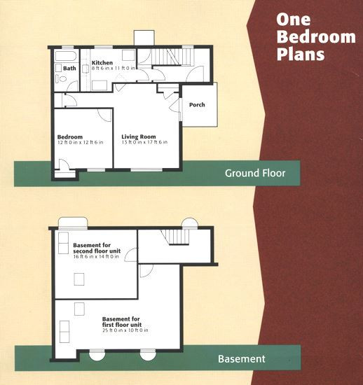 floorplan of a one bedroom unit at cedarwood cooperative