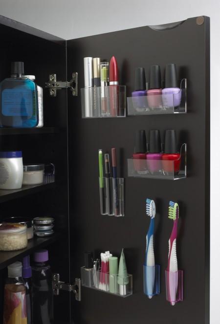 storage in bathroom cabinet