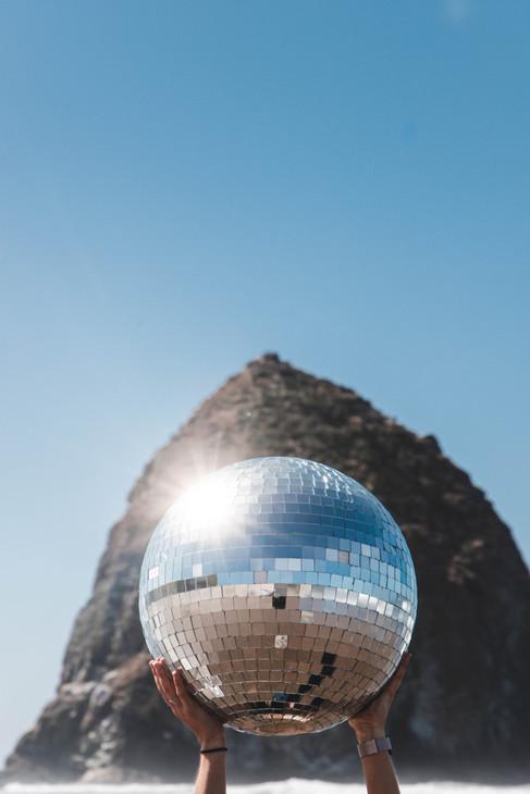 Disco ball Haystack Rock