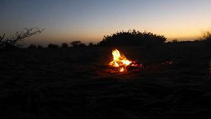 Campement, le feu de bois