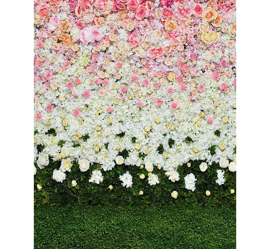 Flower Wall with Grass