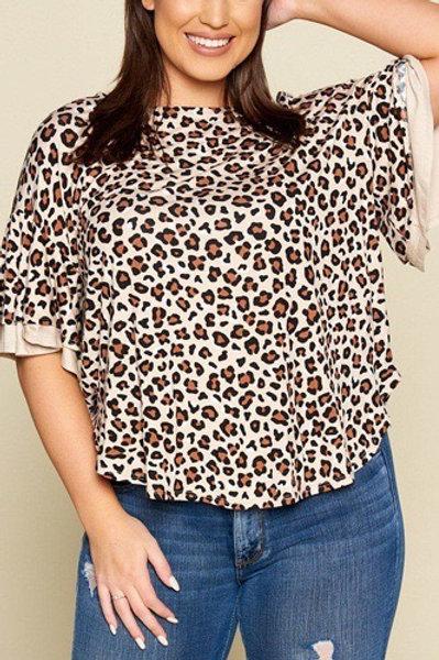 Henley Leopard Print Top