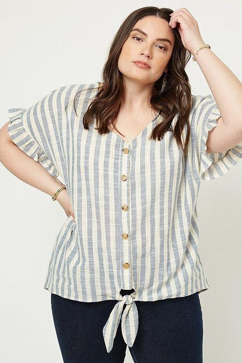 Kitt Striped Linen Top