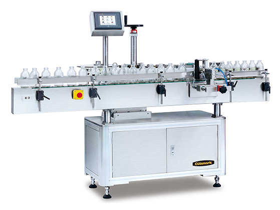 Colamark A107 Orientated Wrap-Around Labeling System with Pneumatic Arm